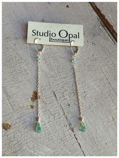 Apatite Chain Earrings  by rootielicious on Etsy