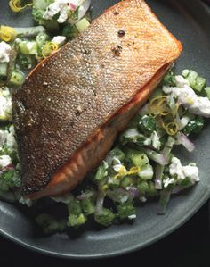 Arctic Char With Cucumber Feta Relish & Jalapeno~Goat Cheese Hushpuppies