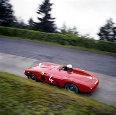 Phil Hill in a Ferrari at the Nürburgring.
