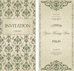 Vintage flower wishes cards design vector pinterest dark green floral vintage invitation cards vector stopboris Images