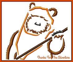 Wicket the Ewok from Star Wars Sketch Digital Embroidery Machine Design File 4x4 5x7 6x10 by Thanks4TheAdventure on Etsy