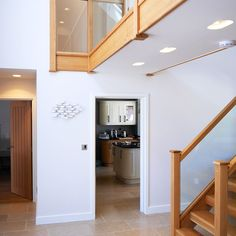 Modern hallway with white walls and timber staircase. Building a house ideas, with Self-Build specialists Potton. Timber Staircase, Staircase Ideas, Stairs, Self Build Houses, Design Your Own Home, Modern Hallway, Build Your Own House, Timber Frame Homes, White Walls