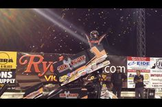 Sammy Swindell celebrating his River Cities Speedway World of Outlaw Sprint Car Win. Photo by: Rick Rea #racing