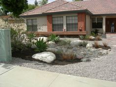 Front Yard Xeriscape Ideas | This is a fabulous rock-scaping front yard landscaping in Escondido ...