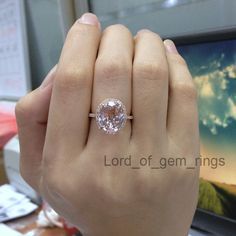 $676: Morganite Halo Engagement Ring 14k Rose Gold Pave Diamonds Oval huge untreated stone 10x12mm