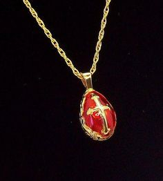 Ornate Red Enameled Egg  Goldtone Metal Pendant Necklace with Cross