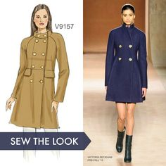 Sew the Look: Double-breasted, fitted coat sewing pattern by Vogue Patterns. V9157.