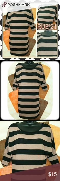 Chic RUE 21 Tan & Black Batwing Sleeve Dress Chic RUE 21 Dress. Tan and black. Batwing 3/4 sleeves. Size small. Very good condition. Bundle multiple purchases to avail discounts and save on shipping. Rue 21 Dresses