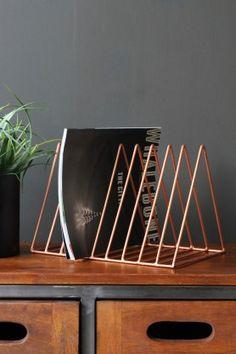 Wire Triangle Magazine Rack - Copper