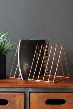 Wire Triangle Magazine Rack - Copper