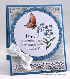 """Soothing Sympathy clear polymer stamp set illustrated by Marcella Hawley, featuring botanical illustratons of Rosemary, Peony, and Forget-Me-Not and comforting sentiments such as """"Rosemary is for Remembrance"""" and """"Sending Love and Light""""."""