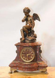 French Antique Empire Clock Marble Bronze Cherub Mantle Clocks
