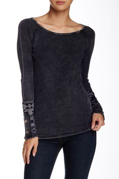 Long Sleeve Novelty Cuff Thermal Raglan (Petite) by Able on @nordstrom_rack