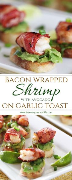 Bacon Wrapped Shrimp Appetizer With Avocado On Garlic Toast. Perfect for a holiday #appetizer or for any party throughout the year. #fingerfoods #bacon #shrimp #Avocados