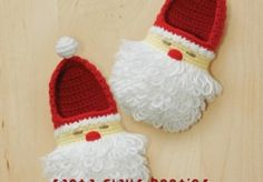Santa Claus Toddler Booties Crochet Pattern for Christmas Winter Holiday