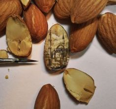 micro painting on an almond