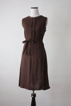 vintage 1960s cocoa linen dress