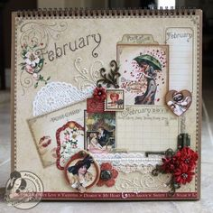 Enjoy @Arlene Butterflykissessses beautiful February page tutorial! What a beauty! #graphic45 #tutorials