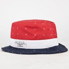 0c3789450cb Civil Just Stars bucket hat. Red