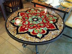 My favorite coffee house in LA, uses a variety of these mosaic tables on their patio. Gorgeous!