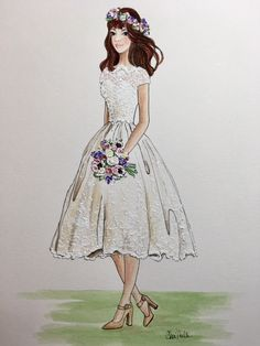 Live Event Wedding Painting and Whimsical Art by CheriMillerArt Wedding Painting, Wedding Art, Wedding Looks, Wedding Bells, Perfect Wedding, Wedding Dress Illustrations, Marriage Dress, Barbie Dress, Pink Barbie
