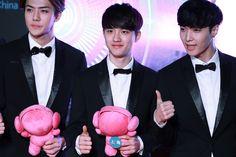 Sehun, D.O & Lay | 141213 8th Migu Wireless Music Awards in Shenzhen