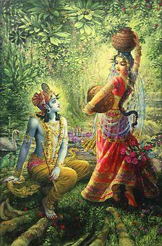 krishna + radha painting