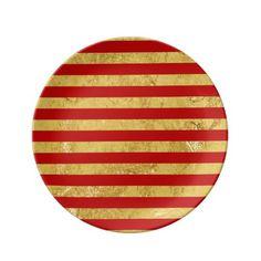 Elegant Gold Foil and Red Stripe Pattern Dinner Plate  sc 1 st  Pinterest & Black u0026 Gold Glitter Monogram Paper Plate | Gold glitter Black gold ...