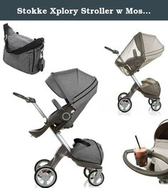 Stokke Xplory Stroller w Mosquito Net, Cup Holder & Matching Changing Bag (Black Melange). Stokke Xplory Stroller with Cup Holder and Changing Bag.