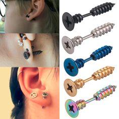 Unisex Women Men Punk Stainless Steel Screw Ear Studs Earrings Jewelry New Punk Earrings, Black Stud Earrings, Unique Earrings, Fashion Earrings, Punk Jewelry, Ear Studs, Fashion Watches, Mens Fashion, Stainless Steel