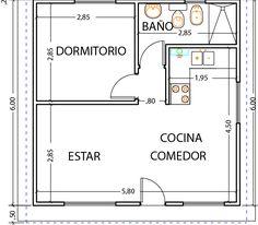 House design plan with 3 bedrooms - Hayat Kisa Studio Apartment Floor Plans, Studio Apartment Layout, Apartment Plans, 2 Bedroom House Plans, Small House Plans, House Floor Plans, Small Appartment, Small House Design, Cabin Homes