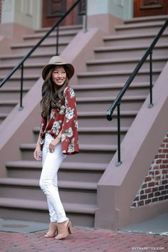 fall casual style // booties, white jeans, rust blouse, wool panama hat
