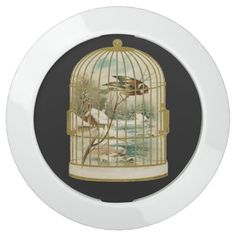 Gold White Bird Cage Cabin by Stream Snow USB Charging Station