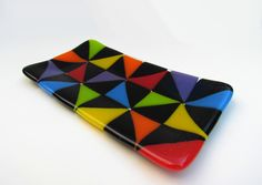 Colorful Fused Glass Platter with Geometric Pattern, Rainbow Tray, Rainbow Plate, Rainbow Dish, Trinket Dish, Sushi Plate, Spoon Rest by TimsHandblownGlass on Etsy https://www.etsy.com/listing/245777982/colorful-fused-glass-platter-with