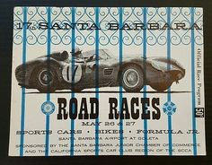 Santa Barbara Road Races 1962 Vintage Auto Racing Program Goleta SCCA Sports Car