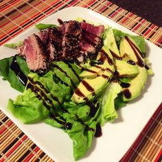 Looking for an insanely delicious, lean dinner tonight? Make our Balsamic-Glazed, Sesame Crusted Seared Ahi Tuna — it's packed with 45g of protein, healthy fats, fiber, and tons of vits/mins. It literally takes 10 minutes to make and I'd be lying if I said it was anything less than mouthwatering. It's unequivocally mouthgasmic