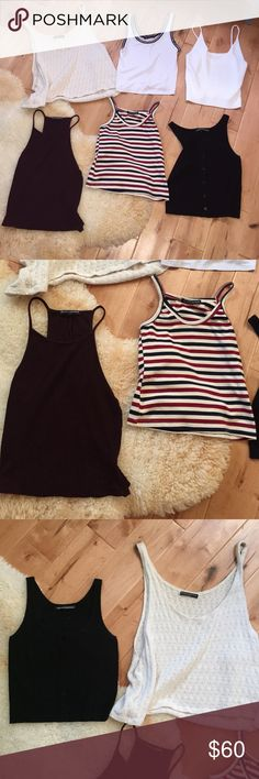 Brandy Melville Tank Top Lot bundle 6 fits XS- s All Brandy Melville all like new - great condition. White knit tank on end has no inner tag and I don't know the style name but it is 100% Brandy Melville from their store in SF - NO I don't want to separate anything for now. Selling all together Brandy Melville Tops Tank Tops