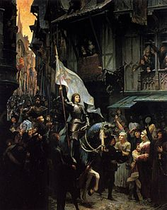 Painting of Joan of Arc entering Orleans in 1429.  (maidofheaven.com.)