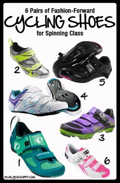 Cycling shoes are far from boring. There are so many fashion-forward options! Here are 6 pairs of colorful shoes to invest in for Spinning class. / A Daily Dose of Fit