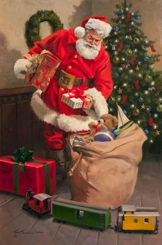 Tom Browning, A Special Gift, oil, 30 x - Southwest Art Magazine Merry Christmas Message, Christmas Past, Cozy Christmas, Xmas Holidays, Christmas Cards, Santa Claus Photos, Santa Pictures, Christmas Pictures, Vintage Christmas Images