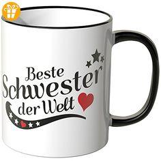 Wandkings® Tasse, Spruch: Beste Schwester der Welt - SCHWARZ - Tassen mit Spruch | Lustige Kaffeebecher (*Partner-Link)