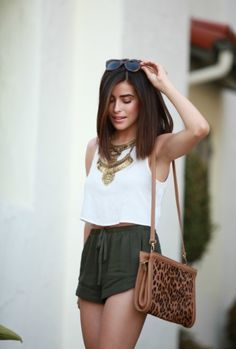 bag, boho, brown, brunette, casual, crop, flow, green, hot, look, necklace, ootd, outfit, shorts, style, summer, top, white