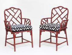 Pair of Vintage Oxblood Red lacquered Bamboo Chinese Chippendale Armchairs with custom cushions from City of Z Design