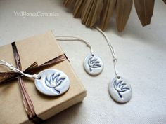 Ceramic Flower Gift Tags Soft Blue Wrapping by YviBJonesCeramics, $6.50