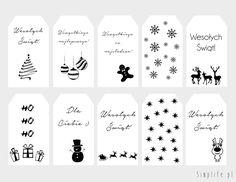 Świąteczne bileciki do prezentów do wydrukowania. - simplife.pl Christmas Doodles, Christmas Gift Tags, Christmas Holidays, Christmas Decorations, Xmas, Sandwich Board, Christmas Inspiration, Diy For Kids, Diy And Crafts