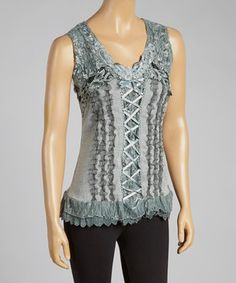 Love this Pretty Angel Gray Lace-Up Silk-Blend Top by Pretty Angel on #zulily! #zulilyfinds