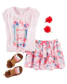 Toddler Girl Matching florals and tiered ruffles paint a pretty picture for spring. With fringe sandals and flower clips she's unique from head to toe!