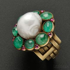 Gold, Baroque Pearl, Emerald, and Pink Sapphire Ring by Marie Zimmermann