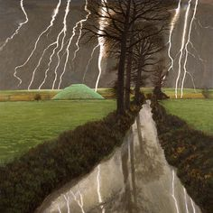 Storm over Silbury Hill, 2008 by David Inshaw on Curiator, the world's biggest collaborative art collection. Tate Gallery, City Museum, Contemporary Landscape, Oeuvre D'art, Les Oeuvres, Landscape Paintings, Fine Art, Trees, Storms