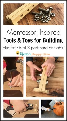 This collection of tools and toys for building includes real stubby tools, leather tool belt, DIY airplane model, and a Montessori nuts and bolts board. Diy Montessori Toys, Montessori Practical Life, Montessori Toddler, Montessori Materials, Toddler Play, Montessori Bedroom, Baby Play, Infant Activities, Activities For Kids